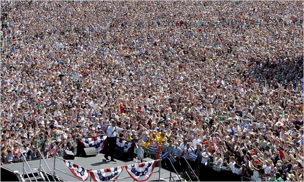 Barack Obama addresses a huge crowd in 2008