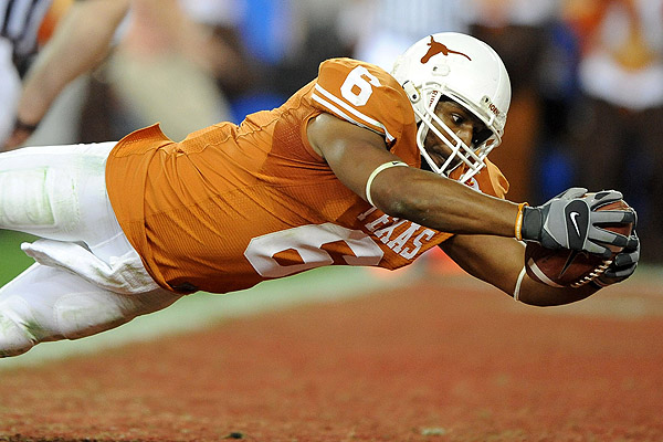 Texas Longhorn receiver, Quan Cosby in last seconds of the game.